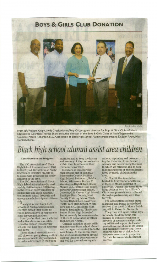 NCABHSA - MAKING A DONATION TO EDGECOMBE/NASH BOYS AND GIRLS CLUB 2009