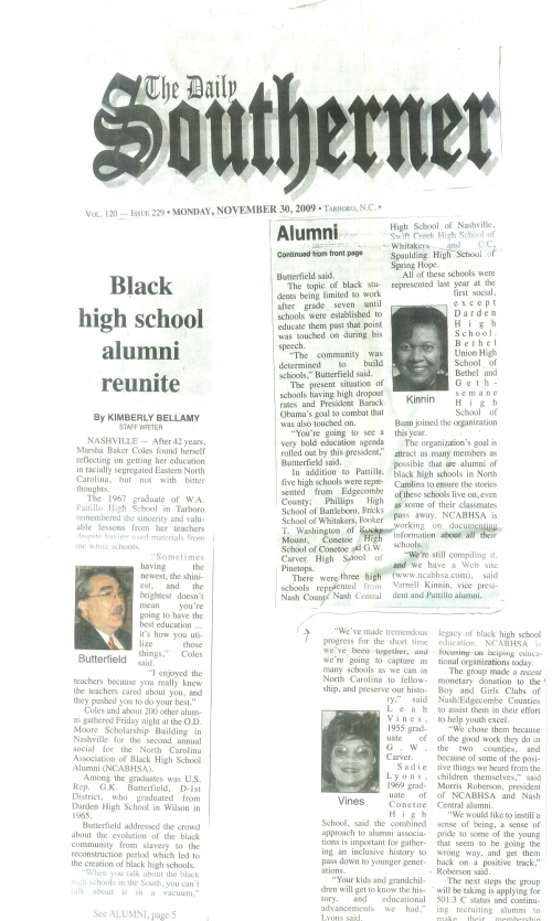 NCABHSA ARTICLE BY REPORT KIMBERLY BELLAMY FROM THE TARBORO DAILY SOUTHERNER, NOVEMBER 30, 2009
