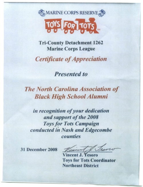 CERTIFICATE OF APPRECIATION FROM TOYS FOR TOTS TO NCABHSA 2008