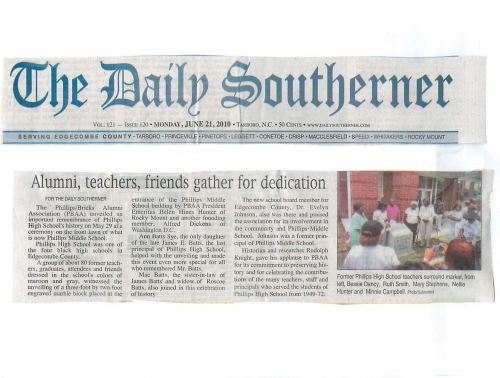 Article from the Tarboro Daily Southerner